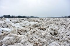Spring flood threat. The ice jam on the river. Spring flood threat. The ice jam on the river royalty free stock images
