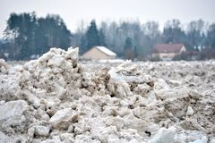 Spring flood threat. The ice jam on the river. Spring flood threat. The ice jam on the river stock photography