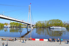 Spring flooding of the embankment in the city of Tyumen, Russia. Stock Photo
