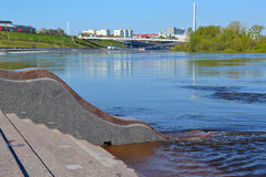 Spring flooding of the embankment in the city of Tyumen, Russia. Stock Image