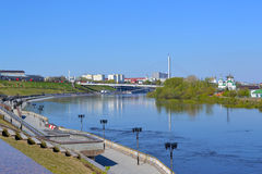 Spring flooding of the embankment in the city of Tyumen, Russia. Royalty Free Stock Images