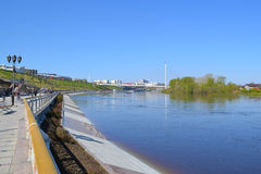 Spring flooding of the embankment in the city of Tyumen, Russia. Stock Photography