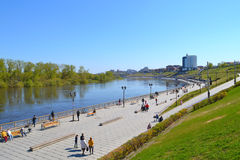 Spring flooding of the embankment in the city of Tyumen, Russia. Stock Photos