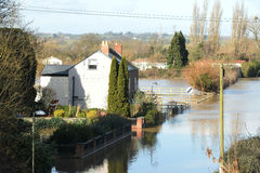 Spring flooding in Gloucestershire. The flooding in the February 2014, in Gloucestershire, UK Royalty Free Stock Photography
