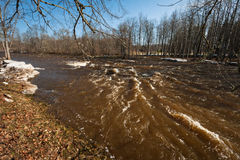 Spring flooding in Jugla river Royalty Free Stock Photos