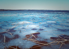 Spring  flooding on the lake. Russian  landscape Arkhangelsk Oblast . spring flooding on the lake,Thin ice on the water Stock Photo