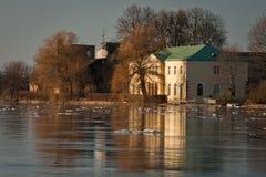Spring flooding in Lielupe river. Springtime flooding in Lielupe river in latvia stock photography