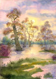 Spring flooding river. Watercolor landscape. The spill has changed the river bank Stock Image