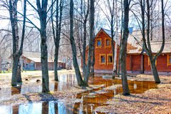 Spring flooding in  Russian village Royalty Free Stock Photos