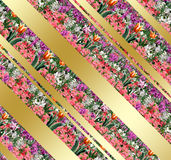 Spring floral abstract background. Digital Illustration. Spring Holiday pattern with gold diagonal stripes. For Art, web, print, wallpaper, greeting card royalty free illustration