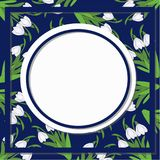 Spring floral abstract background pattern with flowers of snowdrop on dark blue. And place for text vector illustration