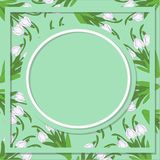 Spring floral abstract background with snowdrop flowers on a light green. And place for text Vector Illustration