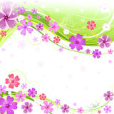 Spring floral background. With butterfly and grasshoppers Stock Image