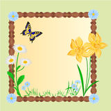 Spring floral background with butterflies vector Royalty Free Stock Photos
