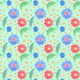Spring floral background. Seamless pattern. Blue and red flower on green background. stock illustration