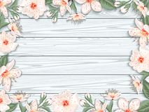 Spring floral background. Vintage spring floral background.Border with cherry blossom flowers on background of wooden white boards. Vector illustration stock illustration