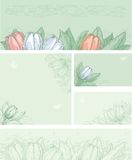 Spring floral backgrounds. Spring tulips on green backgrounds with places for text at color engraving style Vector Illustration