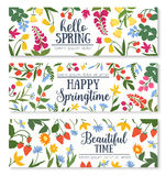 Spring floral banner with flower and berry frame. Hello spring greeting floral banner. Wildflower and forest berry frame of daisy, lily of the valley, strawberry royalty free illustration