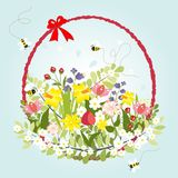 Spring Floral Blossom Love Vintage Cartoon Bee. Decoration Vector Illustration Stock Images