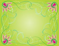 Spring floral border. Green swirl spring background with pink flower border Stock Images