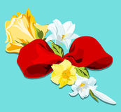 Spring floral bouquet. Floral bouquet of yellow roses, white lilies and daffodil with red bow Stock Photography