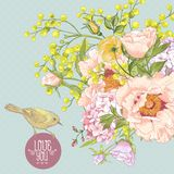 Spring Floral Bouquet with Birds, Greeting Card Royalty Free Stock Photography
