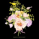 Spring Floral Bouquet with Birds, Greeting Card Stock Photos