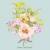 Spring Floral Bouquet with Birds, Greeting Card Stock Photo