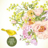 Spring Floral Bouquet with Birds, Greeting Card Stock Photography