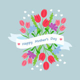 Spring floral bouquet with ribbon and congratulation in flat style. Concept design template greeting card Mothers Day.  vector illustration