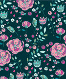 Spring floral. Colorful spring floral background with pink flowers berries sprigs on a dark background, printing on fabric, cover, background Stock Photography