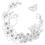 Spring floral elegant wreath coloring page. Spring floral outline elegant round outline wreath coloring page decoration Stock Illustration