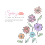 Spring Floral flower pastel line draw art vector background design Royalty Free Stock Images
