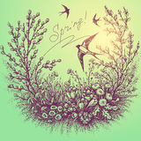 Spring floral frame with swallows Royalty Free Stock Photography