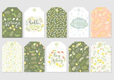 Spring floral gift tags vector. Cute gift tags set. Spring floral patterns, handwritten text. Flowers mimosa, narcissus and tulips, green leaves. Vector Royalty Free Stock Photography