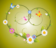 Spring floral heart made from flowers Stock Images