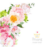 Spring floral mix vector design frame with flowers Royalty Free Stock Photos