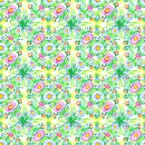 Spring floral pattern of chamomile and green leaves and branches. Hand drawn watercolor seamless pattern royalty free illustration