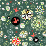 Spring floral pattern with red birds Stock Photography