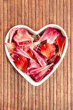 Spring floral petals love heart shape decor Royalty Free Stock Image