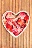 Spring floral petals love heart shaped decor Stock Photo