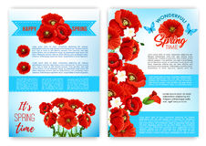 Spring floral poster template with flowers. Happy spring floral poster set. Greeting ribbon banner with spring flower bouquet and blooming flower border of poppy Royalty Free Stock Photography