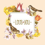 Spring Floral Retro Card with Bird Sparrows Stock Photo