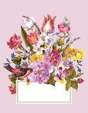 Spring Floral Retro Card in Vintage Style Royalty Free Stock Photography