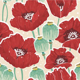 Spring floral seamless pattern with poppy vector illustration