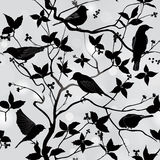 Spring floral seamless wallpaper with birds on branches Stock Image
