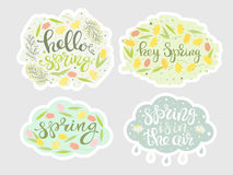 Spring floral stickers set vector. Spring floral stickers set. Green leafs, rain cloud, yellow narcissus, tulips, mimosa and lettering. Natural colors Royalty Free Stock Photography