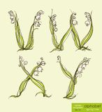 Spring floral stylized hand drawing alphabet.  Vector illustration. Stock Photography