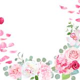 Spring floral vector round frame with peony, rose, orchid, hydra. Ngea, camellia, petals, green plants on white. Pink and white flowers. Wedding invitation card stock illustration