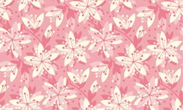 Spring floral vector seamless pattern. Spring blossom motif with sakura flowers for background, surface design Stock Photos